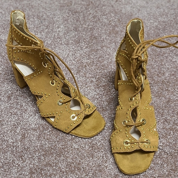 Zara Studded Heel Lace up Suede Sandals 37